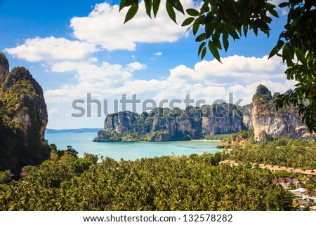Railay beach from viewpoint, Krabi province, Thailand