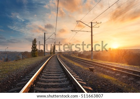 railroad against beautiful sky...