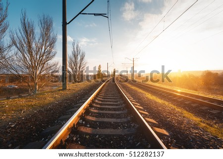 railroad against beautiful sky...