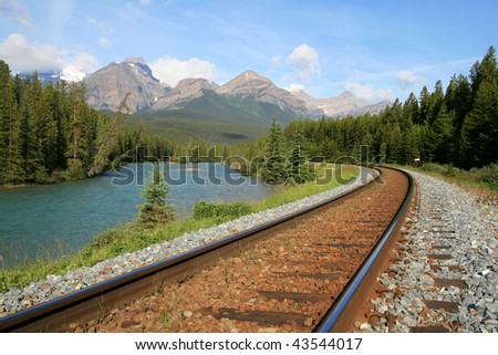 Railroad along the Bow River at Lake Louise in Banff National Park, Alberta, Canada.