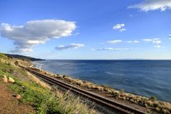 Railroad along the west coastline near Santa Barbara, California