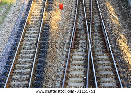 railroad and siding on concrete sleeper in Thailand - stock photo