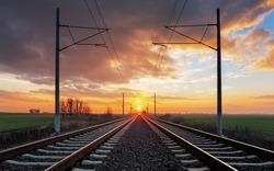 Railroad at a dramatic sunset