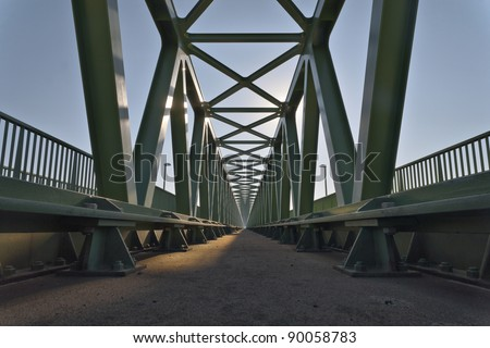 Railroad bridge details,  with symmetrical metal structure