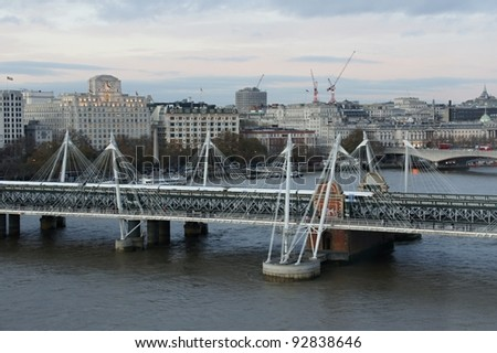 Railroad bridge over Thames to Charing Cross station