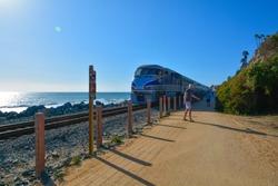 Railroad California train new to ocean