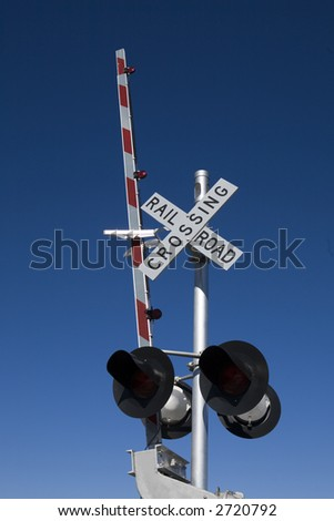Railroad Crossing Sign with Arm in Raised Position