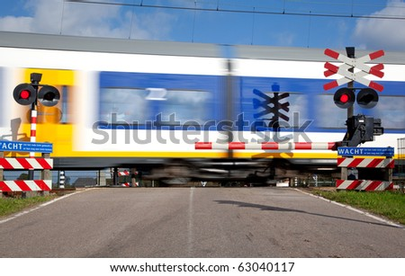 Railroad crossing with high speed train
