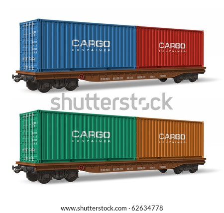 Railroad flatcars with cargo containers