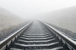 railroad in fog