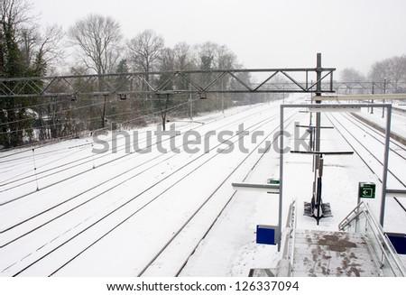 railroad in winter snow landscape