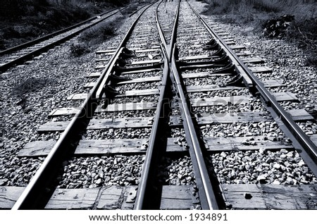 Railroad junction - two railroads converging - black & white