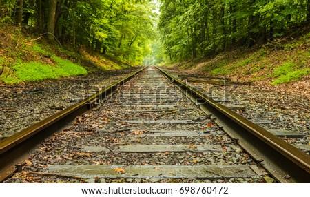 Railroad landscape. Railroad in Thompson Park located in New Jersey