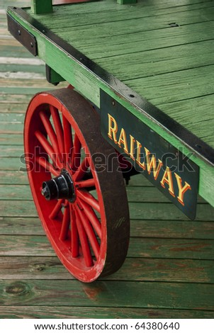 Railroad luggage cart in old train station