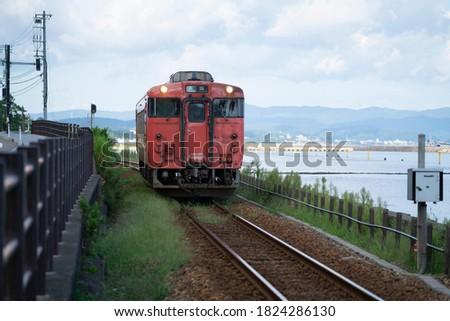 Railroad on the coast of Amabarashi, Ishikawa, Japan. Сток-фото ©