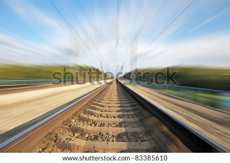 Railroad. Railway route. Blur space at high speed.