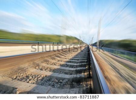 Railroad. Railway route. Blur space at high speed.