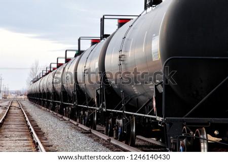 Railroad tank cars waiting on a siding ストックフォト ©