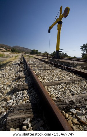 Railroad track. Big tap for railway use in a railroad track.