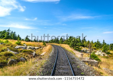 Railroad track curving to the left in nature with pine trees and rocks under a blue sky #1156755472