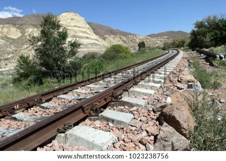 Railroad track near Tokmak, Kyrgyzstan Stok fotoğraf ©