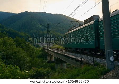 railroad track, railroad bridge railroad in the mountains #1354888760