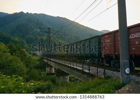 railroad track, railroad bridge railroad in the mountains #1354888763