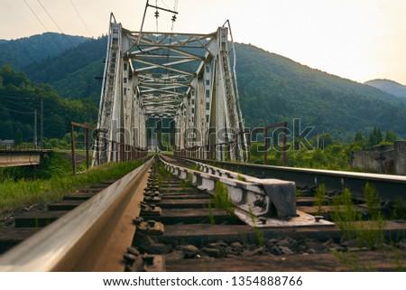 railroad track, railroad bridge railroad in the mountains #1354888766