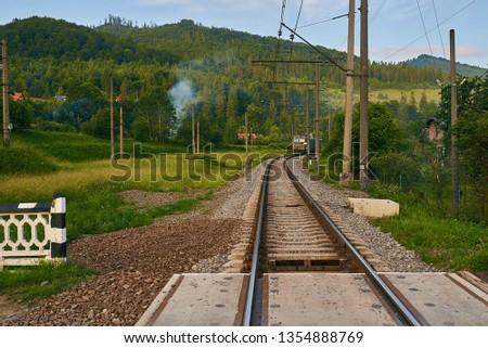 railroad track, railroad bridge railroad in the mountains #1354888769