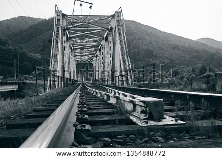 railroad track, railroad bridge railroad in the mountains #1354888772