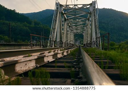railroad track, railroad bridge railroad in the mountains #1354888775
