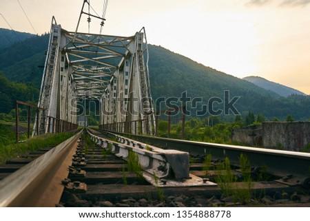 railroad track, railroad bridge railroad in the mountains #1354888778