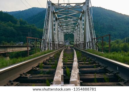 railroad track, railroad bridge railroad in the mountains #1354888781