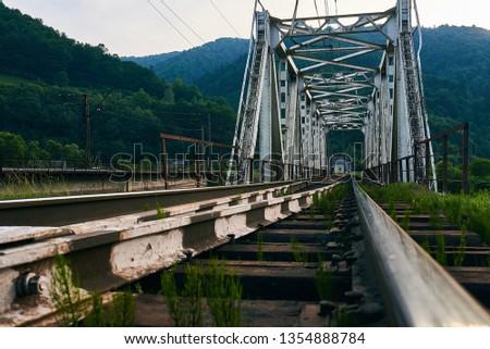 railroad track, railroad bridge railroad in the mountains #1354888784