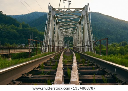 railroad track, railroad bridge railroad in the mountains #1354888787