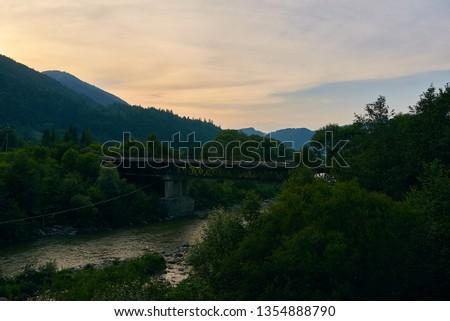railroad track, railroad bridge railroad in the mountains #1354888790