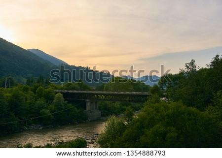 railroad track, railroad bridge railroad in the mountains #1354888793