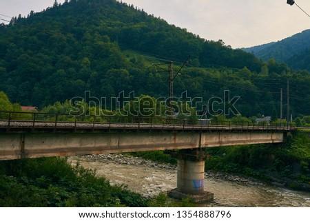railroad track, railroad bridge railroad in the mountains #1354888796
