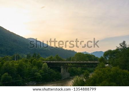 railroad track, railroad bridge railroad in the mountains #1354888799