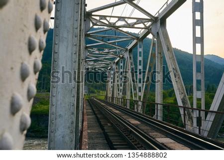 railroad track, railroad bridge railroad in the mountains #1354888802