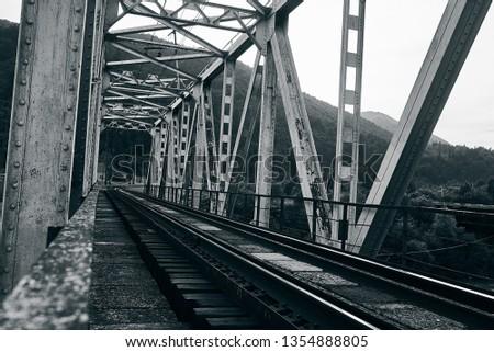 railroad track, railroad bridge railroad in the mountains #1354888805
