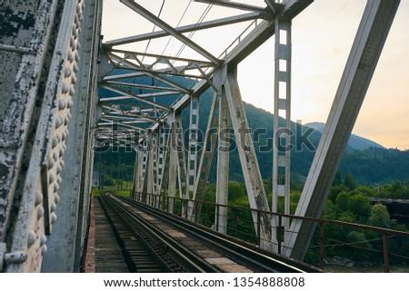 railroad track, railroad bridge railroad in the mountains #1354888808