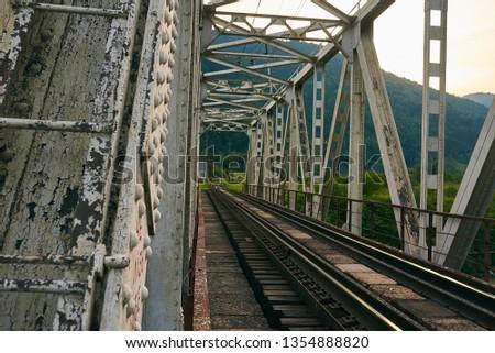 railroad track, railroad bridge railroad in the mountains #1354888820