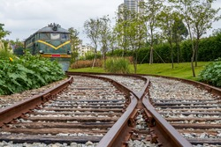 Railroad tracks and locomotives in the wild