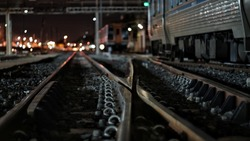 Railroad tracks, crossroads and intersection for background/ free area for text