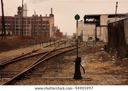Railroad tracks in Detroit, Michigan