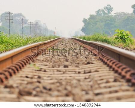 Railroad tracks in the morning, railroad, Classic railroad in Thailand. #1340892944