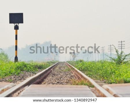 Railroad tracks in the morning, railroad, Classic railroad in Thailand. #1340892947