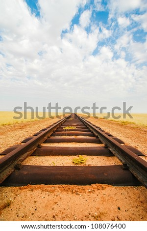 Railroad tracks leading to nowhere