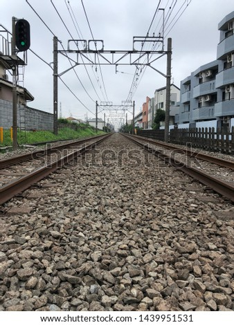 Railroad tracks. Middle of the track view. Japan.
